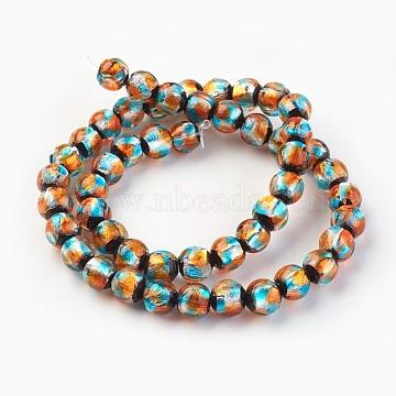 8mm DarkOrange Round Silver Foil Beads