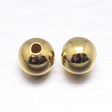Real 18K Gold Plated Round Sterling Silver Spacer Beads, Golden, 5mm, Hole: 1.5mm; about 95pcs/20g(STER-M103-04-5mm-G)