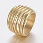 304 нержавеющей стали кольца перста широкополосного, полый, золотой, Размер 7, 17 mm