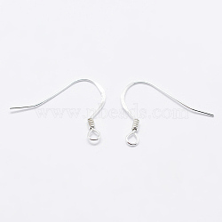 925 Sterling Silver Earring Hooks, Carved 925, Silver, 15x18x1mm, Hole: 1.5mm; Pin: 0.5mm(X-STER-K167-049A-S)