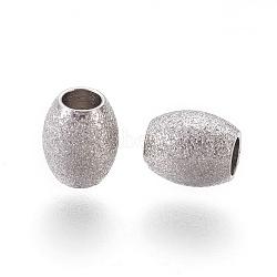 304 perles texturées en acier inoxydable, ovale, couleur inoxydable, 6x5mm, Trou: 2.3mm(STAS-E455-06P-5x6)