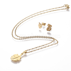 304 Stainless Steel Jewelry Sets, Stud Earring and Pendant Necklaces, Leaf, Golden, 17.3inches~18.2inches(44~46.3cm); 8.5x6x1mm; Pin: 0.8mm(X-SJEW-P159-03G)