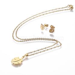 304 ensembles de bijoux en acier inoxydable, boucles d'oreille et colliers, feuille, or, 17.3 18.2 cm); (44~46.3 mm; Broche: 8.5x6x1 mm(X-SJEW-P159-03G)