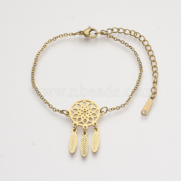 201 Stainless Steel Link Bracelets, with Cable Chains and Lobster Claw Clasps, Woven Net/Web with Feather, Golden, 6-1/8 inches~6-5/8 inches(15.5~16.8cm); 1.5mm(BJEW-T011-JN153-2)