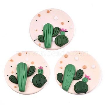 Handmade Polymer Clay Pendants, Flat Round with Cactus, PeachPuff & Green, 47~49x7~11mm, Hole: 1.2~1.7mm(X-CLAY-N010-011)