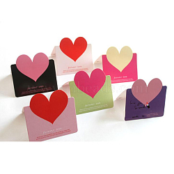 Greeting Cards, Paper Crafts, For Valentine's Day Gifts, with Envelope and OPP Bag, Heart, Mixed Color, 9x9.3mm(DIY-K010-01)