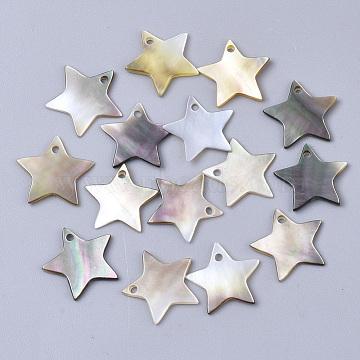 Black Lip Shell Charms, Star, Black, 13x13~14x1~2mm, Hole: 1.2mm(X-SSHEL-S251-34B)