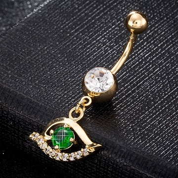Eco-Friendly Brass Cubic Zirconia Navel Ring, Belly Rings, with Use Stainless Steel Findings, Real 18K Gold Plated, Eye, Green, 39x18mm, Pin: 1.5mm(AJEW-EE0004-23G)