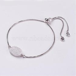 """Bracelets de curseur en cristal de quartz druzy naturel galvanisé, bracelets bolo, avec des chaînes en laiton, floral blanc, 5-1/8"""" (128 mm)(BJEW-JB02876)"""