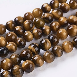 Natural Tiger Eye Beads Strands, Dyed, Round, Goldenrod, 4mm