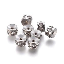 Perles de strass en 304 acier inoxydable, colonne, 5x3.5mm, Trou: 1mm(STAS-E474-54A-P)