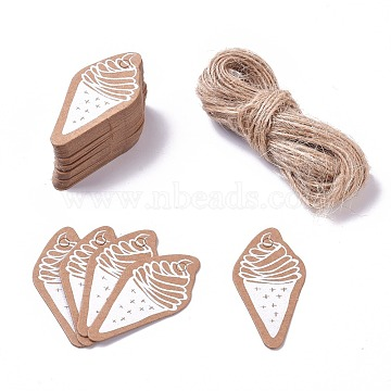 Paper Gift Tags, Hange Tags, For Arts and Crafts, with Jute Twine, Ice Cream, BurlyWood, 45x23x0.5mm; 50pcs/set(CDIS-L004-S01)