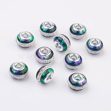 Two Tone Glass European Beads, with Silver Brass Cores and Rhinestone, Large Hole Beads, Rondelle, Dark Green, 15x10mm, Hole: 5mm(GPDL-F016-A05)