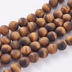 Frosted Natural Tiger Eye Round Bead Strands, 14mm, Hole: 1mm; about 25~27pcs/strand, 14.9~15.6inches