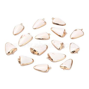 Electroplate Sea Shell Pendants, with Brass Findings, Triangle, Golden, Seashell Color, 30~40x15~25x5~12mm, Hole: 1~2mm(X-SSHEL-T009-02)