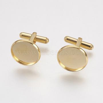 304 Stainless Steel Cuffinks, Flat Round, Golden, 19.5mm, Tray: 18x2mm; Inner Size: 16mm(STAS-G187-23G-16mm)