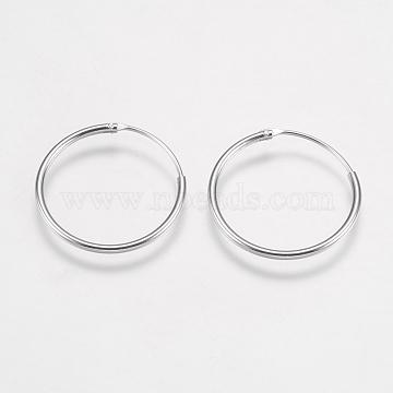 Real Platinum Plated Sterling Silver Earring Hoop