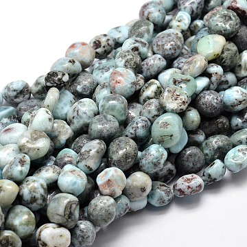 Natural Larimar Chip Beads Strands, 11~13x10~12mm, Hole: 1mm; about 15.5inches(G-E271-128)