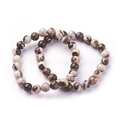 bracelets extensibles en jaspe zébré naturel, arrondir, 2 / 2-1 8 cm); perles: (5.2~5.5 mm(X-BJEW-F380-01-B04)