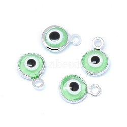 Breloques vernissées de mauvais œil manuelles, avec les accessoires en laiton, plat rond, lightgreen, Platine plaqué réel, 10x6.5x3mm, Trou: 1.5mm(KK-F764-13P-03)