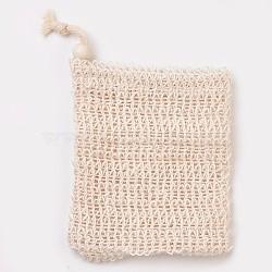 Fashion Linen Soap Bag, Shower Soap Saver Pouch Bathing Soap Scrub Mesh Bag, PeachPuff, 12x9cm(MRMJ-WH0019-02A)