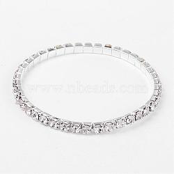 cadeaux de la Saint-Valentin pour ses bracelets de tennis en strass stretch à une rangée, avec les résultats en laiton, blanc, 50 mm(B115-1)
