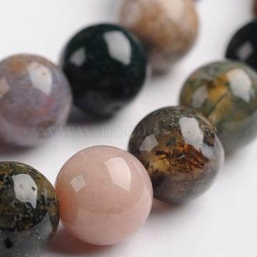 """Indiennes brins de perles rondes en agate de pierre naturelle, 8mm, trou: 1mm; environ 48 pcs/chapelet, 14.9""""(G-J333-07-8mm)"""