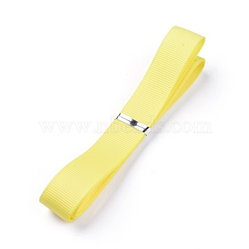 Grosgrain Ribbons, Polyester Ribbons, Yellow Series, Yellow, 5/8 inch(16mm); about 1yard/strand(0.9144m/strand)(SRIB-L055-16mm-E640)