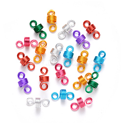 Aluminum Hair Braid Dreadlock Beads, Dread Cuff Coil, Wire Hair Coil Cuffs, 5 Loops, Mixed Color, 22~23x10mm, Hole: 4mm; 8mm Inner Diameter(ALUM-S017-001)