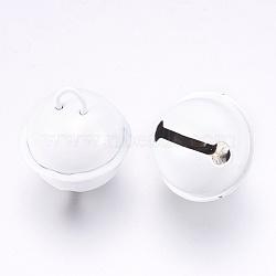 cloche de fer pendentifs, blanc, 23.5x21.5 mm, trou: 5.5x4 mm(X-IFIN-K039-04D)