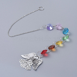 Chandelier Suncatchers Prisms Octogon Glass Chakra Hanging Pendant, with Crystal Rhinestone, Angel Iron Pendant and Cable Chain, Faceted, Platinum, 415x2mm(AJEW-G025-C05)