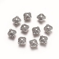 Alloy Beads, Rhombus, Antique Silver, 11x10.5x5.5mm, Hole: 1.2mm(PALLOY-G257-13AS)
