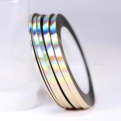 Ligne de bande de striping, nail art autocollant conseils décoration, rouleau d'autocollants d'art de nail art, linge, 0.8 mm; environ 18 m/rouleau(MRMJ-Q013-98J-0.8mm)