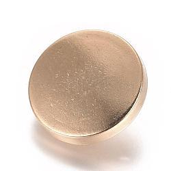 Boutons en alliage, 1-trou, plat rond, or clair, 15x7mm, Trou: 2mm(BUTT-D054-15mm-05KCG)