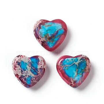Natural Regalite/Imperial Jasper/Sea Sediment Jasper Beads, No Hole, Two Tone, Dyed, Heart, 14x15x5mm(G-Z008-10)