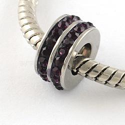 Chapelets de perle avec grand trou de colonne en 316 acier inoxydable, avec argile polymère strass, améthyste, 10x5mm, Trou: 5mm(STAS-R082-AA104-12)