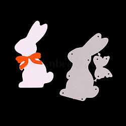 Cadre de lapin coupe en acier au carbone meurt pochoirs, pour bricolage scrapbooking / album photo, carte de papier de bricolage décoratif, mat platine, 8.1x4.9x0.08 cm(DIY-F028-14)