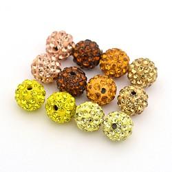 Pave perles rondes boule disco argile polymère de strass, couleur mixte, 10mm, Trou: 1.5mm, 6 pièces / kit(RB-X0003-02)