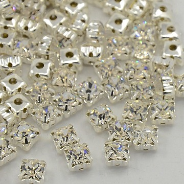 Sew on Rhinestone, Multi-strand Links, Grade A Glass Rhinestone, with Brass Prong Settings, Garments Accessories, Square, Silver Color Plated, Crystal, 5.44~5.61x5.44~5.61mm, Hole: 1mm(X-RB-J179-SS25-001)