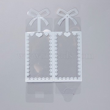 Foldable Transparent PVC Boxes, for Craft Candy Packaging Wedding Party Favor Gift Boxes, Rectangle with Bowknot Pattern, Clear, 20.6x12x0.04cm, Box: 6x6x10.5cm(CON-WH0070-96)