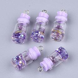 Décorations de bouteille en verre, avec résine strass et bouchon, fleur séchée et fer, platine, lilas, 26~27x9.5~10mm, Trou: 1.8mm(X-GLAA-S181-05D)
