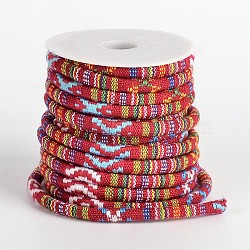 Ethnic Cord Polyester Cords, Colorful, 7x5mm, 10yards/roll(OCOR-M005-07)