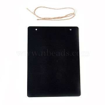 Rectangle Chalkboards Double Sided Blackboard, with Hemp Rope, Black, 23x17x0.3cm; Rope: 62cm(AJEW-WH0052-03)