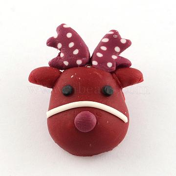 Handmade Christmas Reindeer/Stag Polymer Clay Pendants, Dark Red, 28x24x10mm, Hole: 1mm(X-CLAY-R060-21)