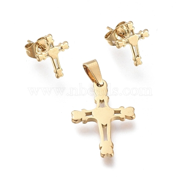 Cross 304 Stainless Steel Jewelry Sets, Pendants and Stud Earrings, with Ear Nuts, Golden, 21.3x14x1.3mm, Hole: 5x3mm; 11x8.5mm, Pin: 0.7mm(SJEW-K154-12G)