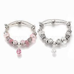 bracelets européens, avec perles en alliage tibétain, perles de rresin, chaînes en laiton et chaînes de sécurité, argent antique, arrondir, couleur mélangée, 7-1 / 2 (19 cm)(BJEW-S124-10-M)
