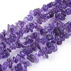 Natural Amethyst Beads Strands, Chips, 5~8mm, Hole: about 0.6mm, about 34inches long