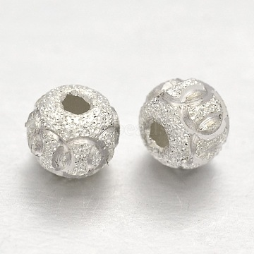 Textured Sterling Silver Round Bead Spacers, Silver, 6mm, Hole: 1mm(X-STER-E041-06C)