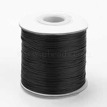 Waxed Polyester Cord, Bead Cord, Black, 0.5mm, about 185yards/roll(YC-0.5mm-106)