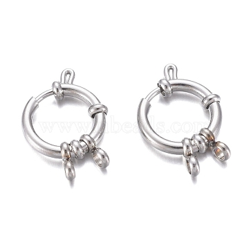 304 Stainless Steel Spring Ring Clasps, Ring, Stainless Steel Color, 16x4mm, Hole: 2.5mm(STAS-G190-17P-A)